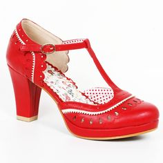 Bettie Page Taylor Shoes - Red | US sizes 6, 7, 8, 9, 10, 11
