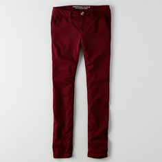 AEO Twill X Skinny ($45) ❤ liked on Polyvore featuring red, skinny pants and american eagle outfitters