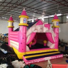 Inflatable pink bowknot bounce