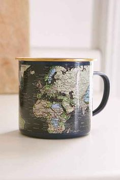 Enamel Map Mug - Urban Outfitters (my nanny used to have mugs like this :) they were so cool to drink out of) Coffee Love, Coffee Shop, Coffee Cups, Coffee Coffee, Cool Mugs, Tea Mugs, Mug Cup, Kitchenware, Tea Time