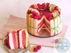 Raspberry-lime Charlotte Grumbles – Pastry World Köstliche Desserts, Delicious Desserts, Yummy Food, Baking Recipes, Cake Recipes, Dessert Recipes, Pie Cake, No Bake Cake, Charlotte Cake