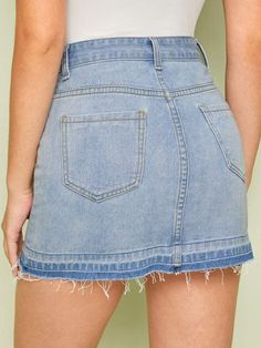 To find out about the A-line Washed Raw Hem Denim Skirt at SHEIN, part of our latest Denim Skirts ready to shop online today! Cute Skirts, Mini Skirts, Denim Mini Skirt, Fashion News, Dress Skirt, Denim Jeans, Cute Outfits, Legs, Clothes For Women