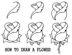 drawing techniques 45 Beautiful Flower Drawings and Realistic Color Pencil Drawings Flower Step By Step, Step By Step Drawing, How To Draw Flowers Step By Step, How To Draw Roses, Easy To Draw Flowers, Easy To Draw Rose, Easy Pics To Draw, Simple Pictures To Draw, What To Draw