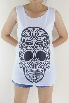 Robot Shirt Alien Skull Goth Gothic Zombie -- Skull Design Art Shirt Women Tank Top Tunic Sleeveless Skull T-Shirt White T-Shirt Size S