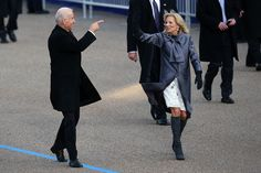 Who has Vice President Joe Biden spotted in the crowds as he walks the parade route with his wife Jill?