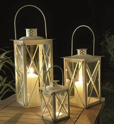 Set Of Three Cavendish Candle Lanterns In Cream