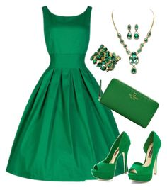 """""""GREEN"""" by pauirjules ❤ liked on Polyvore featuring Kate Spade"""