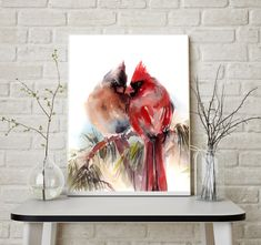 Couple - Cardinal Birds Watercolor Painting Art Print Fine Art Print from Watercolor Painting Northern Cardinal Bird Couple Painting Bird Watercolour Wall Art  PRINT DETAILS: printed on Epson art printer specialised in museum quality printing, on heavy weight archival (acid free, special coated, non-yellowing) paper. Each art print is a reproduction of my original one of a kind artwork.  SIZES: please choose from the drop menu. There are standard inches sizes and A-sizes also. Custom sizes…