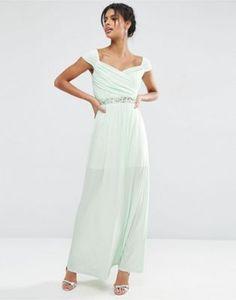 ASOS Embellished Waist Bardot Soft Maxi Dress