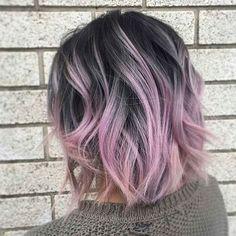 Bob Hair Color, Hair Color Asian, Hair Color Purple, Asian Hair, Hair Color Balayage, Hair Colors, Purple Tips, Pink Bayalage, Short Pastel Hair