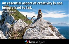 An essential aspect of creativity is not being afraid to fail. - Edwin Land - This site has a plethora of quotes, this link specifically references creativity quotes