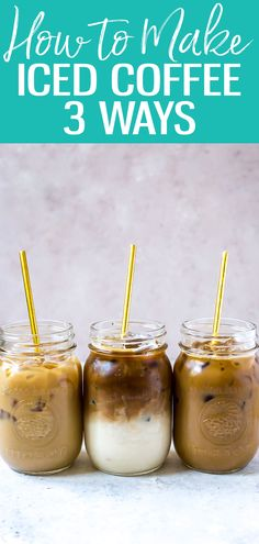 These 3 Iced Coffee Recipes are sure to please during the summer months! These 3 Iced Coffee Recipes are sure to please during the summer months! Healthy Iced Coffee, Homemade Iced Coffee, Vanilla Iced Coffee, Best Iced Coffee, Iced Coffee At Home, Coffee Drink Recipes, Iced Mocha, Coffee Coffee, Coffee Girl