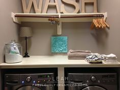 how I put together the wash + dry + fold station in our laundry room « Fabulously Organized Home Fabulously Organized Home, Laundry Room Tables, Laundry Rooms, Laundry Station, Wash And Fold, Home Upgrades, Diy Organization, Organizing, Getting Organized