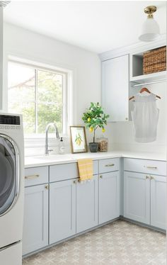 Blue Laundry Rooms, Laundry Room Cabinets, Blue Cabinets, Shaker Cabinets, Light Blue Paint Colors, Blue Colors, Paint Colours, Wall Colors, Pale Blue Paints
