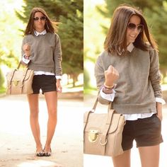 """A Bicyclette Sweater, Su Shi Bag, Pretty Ballerinas Flats, Pull & Bear Shorts, Marc By Marc Jacobs Sunglasses //""""A new boy in my school"""" by Alexandra Per // LOOKBOOK.nu"""