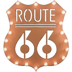 Dot & Bo Route 66 Marquee Sign (€91) ❤ liked on Polyvore featuring home, home decor, wall art, metal signs, old fashioned metal signs, metal wall signs and metal wall art