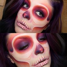 So amazed by Dixiewolff's epic skull using Sugarpill Burning Heart and Sweetheart eyeshadow palettes over Masquerade Cosmetics cream colors! One of our all time favorite skull makeup looks ever. Creepy Halloween Makeup, Halloween Looks, Halloween Stuff, Scary Makeup, Skull Makeup, Makeup Art, Skeleton Makeup, Skeleton Costumes, Sfx Makeup
