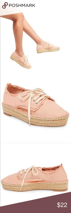 """🎀🆕Dolce Vita Canvas Espadrilles🎀 Sneaker style espadrille with a 1"""" platform sole  for comfort and easy wearing. A braided rope sole and frayed natural edges give these DV sneakers a sunny, island feel. Perfect to pair with jeans or sundresses or cropped pants in a beautiful blush color! DV by Dolce Vita Shoes"""