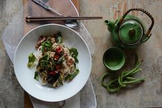 Thai Pork Basil Pork Noodles with Eggplant