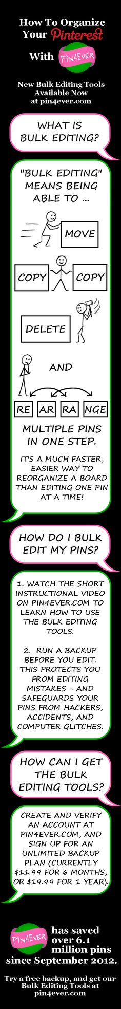 Back up and organize your Pinterest pins with Pin4Ever! We've helped our customers save over 72 million pins since September 2012. Visit www.pin4ever.com to get our FREE Bulk Editing Tools!