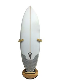 a freestanding surfboard floor display stand. made out of wood and in the usa