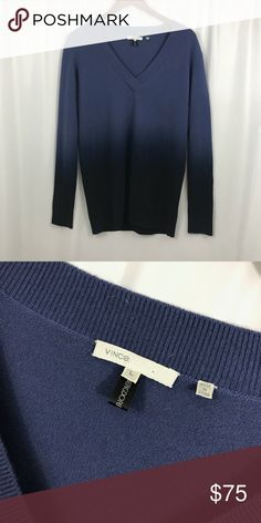 Vince ombré 100% cashmere v neck sweater Size large Goes from a medium blue  to 2b6eeb94c5