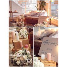結婚式のデータがまだなので二次会の写真 お気に入りのソファ高砂 キャンドルとafter partyの看板を作りしました…