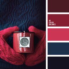 бордовый, винный цвет, коричнево-красный, оттенки бордового, оттенки синего, полуночно-синий, темно-бордовый, темно-синий, темный красный, цвет вина, яркий алый, яркий винный.