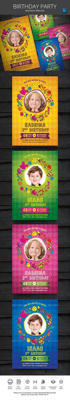 Cute Animales Birthday Invitation Card Animales, Birthdays and Ai - birthday invitation card template photoshop