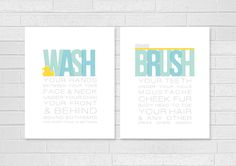Rubber Duck Bathroom Art Prints SET - Wash your Hands & Brush your Teeth Typography Rubber Ducky / Toothbrush 8x10 Bath Wall Art. $30.00, via Etsy.