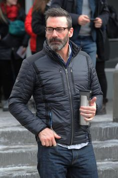 Jon Hamm looked a far cry from his clean-cut Man Men character when he stepped out at the Sundance Film Festival sporting a salt and pepper beard and new haircut, but he still managed to look dashing © Atlantic Images #JonHamm #MadMen #Beard #Beirut
