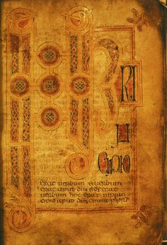 The Hereford Gospels (Hereford, Hereford Cathedral Library, MS P. I. 2) is an 8th century illuminated manuscript Gospel Book in insular script minuscule script, with large illuminated initials in the Insular style.  The manuscript was likely produced either in Wales