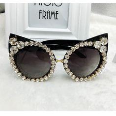 Sunglasses Rhinestone Sexy Cat Eyes Vintage Shades Gafas De Sol #Unbranded