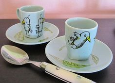 """""""For the birds"""" espresso cups and saucers!  (I love making these little things!)  :D"""