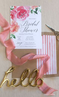 DIY Peony Watercolor Bridal Shower Invitation from MichaelsMakers Lia Griffith