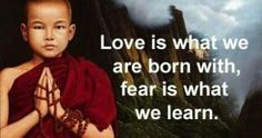 Love is what we are born with, fear is what we learn.