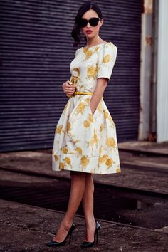 Really cute floral white and yellow dress | Just a pretty style
