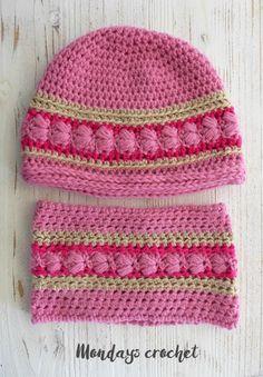 Conjunto de gorro y cuello de crochet