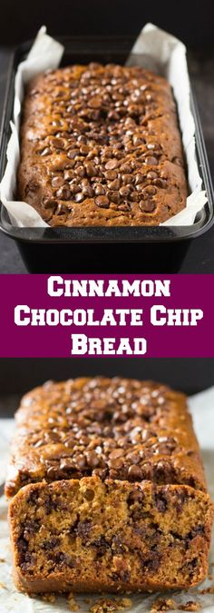 Cinnamon Chocolate Chip Bread - this sounds so good. Guess I need to make some bread today.