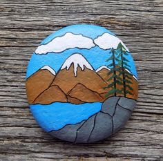 Scenic Mountain View Painted Rock,Decorative Accent Stone, Paperweight - # A Steine bemalen Scenic M Rock Painting Patterns, Rock Painting Ideas Easy, Rock Painting Designs, Painted Rocks Craft, Hand Painted Rocks, Painted Pebbles, Peace Painting, Stone Painting, Acrylic Painting Rocks