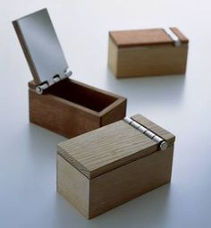 These are pretty adorable little boxes. Would be a fun weekend project, perhaps utilizing Incra's wooden box hinge maker.