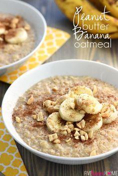 Peanut Butter Banana Oatmeal ~ in just a few short minutes, you can enjoy a hot, wholesome, homemade breakfast flavored with cinnamon, sweetened with honey, and topped with crunchy peanuts!   FiveHeartHome.com