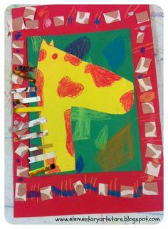 Kids art project: Giraffe collages