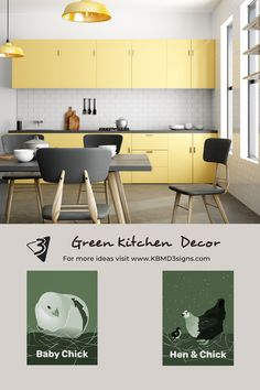 The moss #greenkitchenwalldecor works well for the vanilla #yellowkitchen in #industrialstyle . Both #prints featuring a #hen and a #babychick allow for #customcolor and to personalize the caption font, font-color, and font-size. Please inquire for customization help for custom design at KBM D3signs.