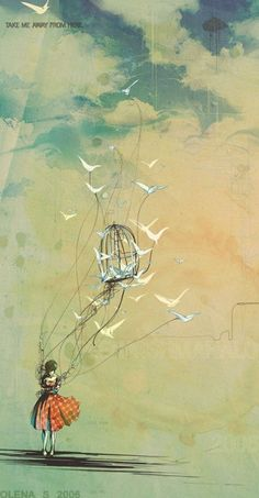 I love the birds attached to the girl with strings... inspiration for flying boat tattoo