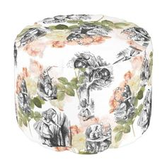 "Alice, the White Rabbit and the Cheshire Cat, in several delightful black and white vintage illustrations from ""Alice in Wonderland"", are set on a background of vintage pink roses to make this lovely ottoman pouf. Many more Alice in Wonderland items and designs are available from my Zazzle store."