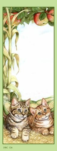 Bookmark with kittens and apples