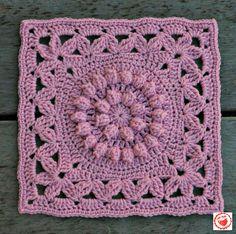 """Crown Jewels - 12"""" square by Melinda Miller [free pattern] #crochet #handmade #diy"""