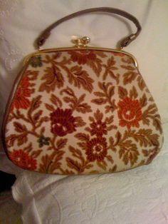 Vintage tapestry carpet flower handbag