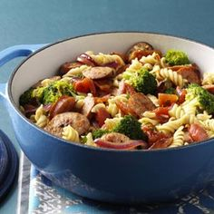Pasta & Broccoli Sausage Simmer Recipe- Recipes I created this meal when trying to use up a large head of broccoli. My family requests it at least once a week, which is handy because we always have the ingredients. Sausage Recipes, Pork Recipes, Pasta Recipes, Dinner Recipes, Cooking Recipes, Healthy Recipes, Dinner Ideas, Meal Ideas, Al Dente